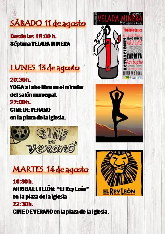 PROGRAMACIÓN DEL SABADO 11 DE AGOSTO AL MARTES 14 DE AGOSTO