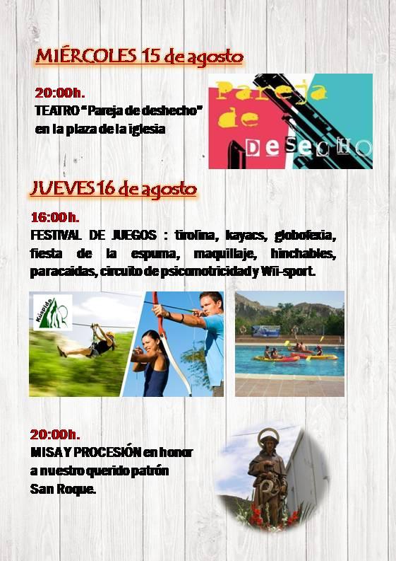 PROGRAMACIÓN DEL MIERCOLES AL JUEVES 16 DE AGOSTO