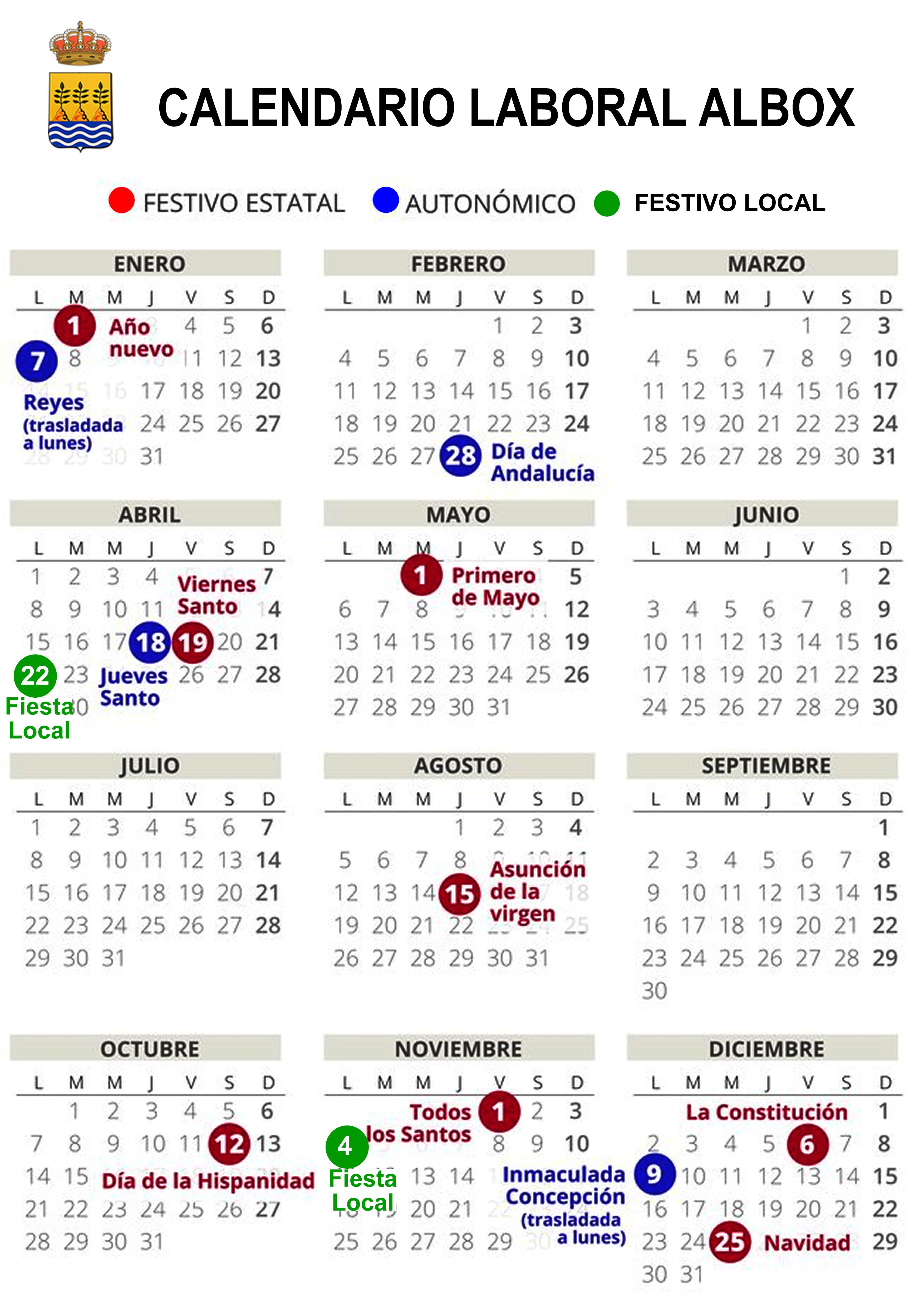 Calendario Festivo.Ayuntamiento De Albox Calendario Laboral Fiscal