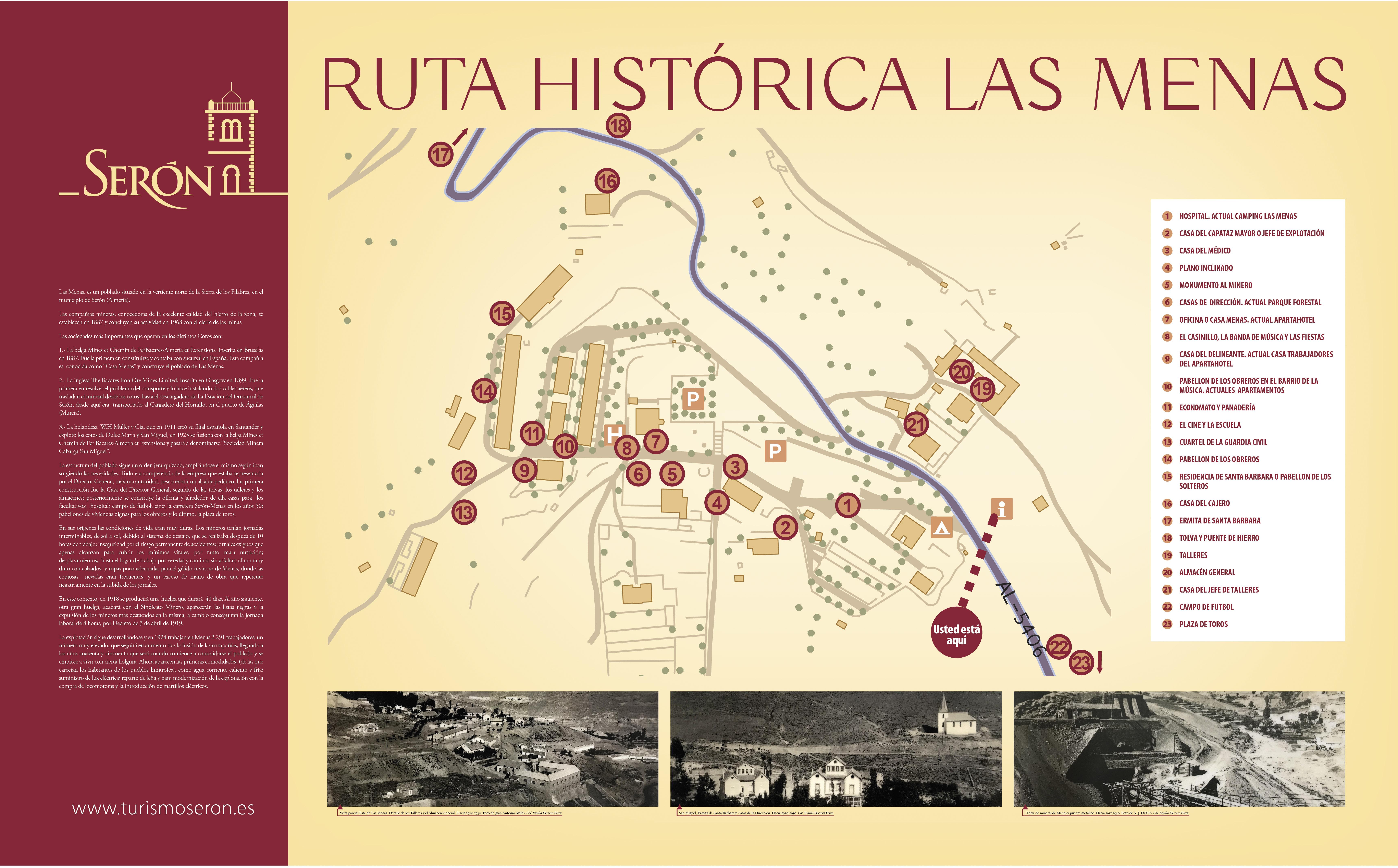 Ruta Histórica de Las Menas y ubicación de las instalaciones