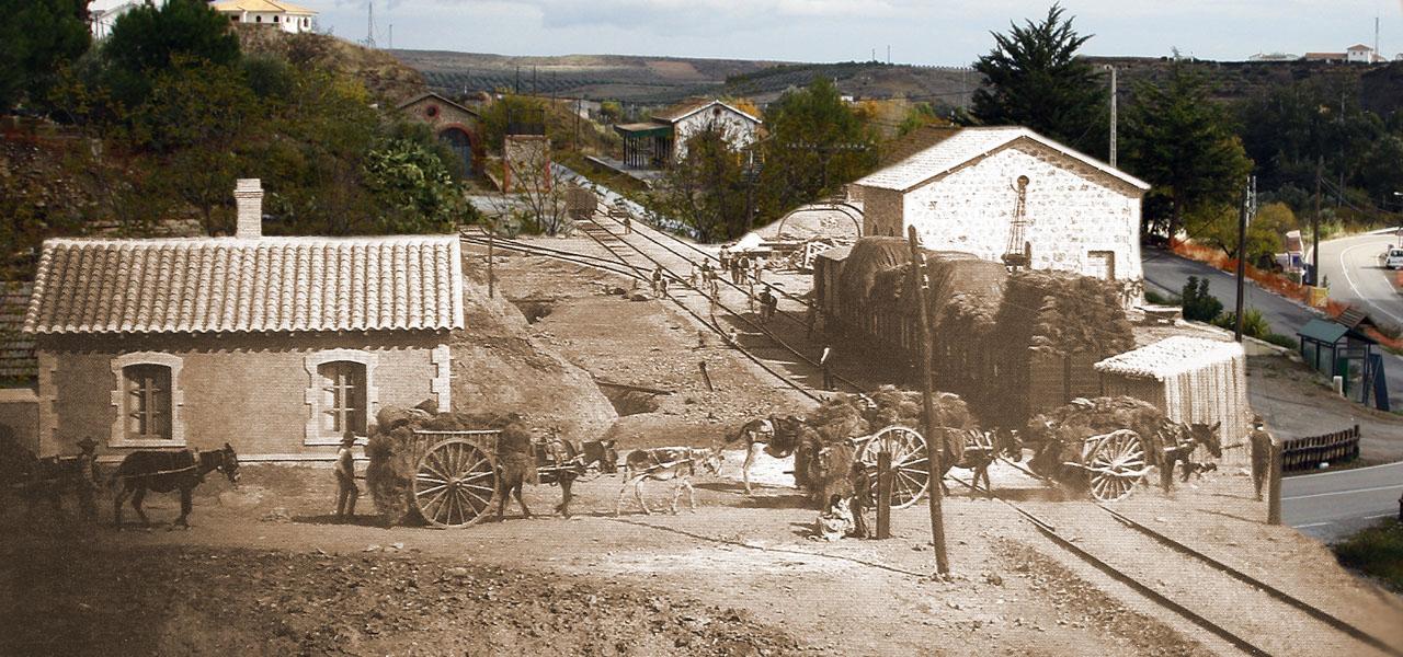 Reconstrucción idealizada de la estación de Serón con el bullicio del ferrocarril antes de su cierre
