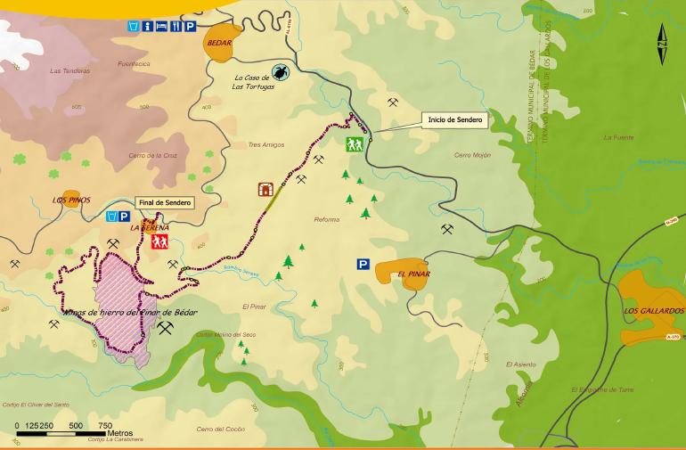 Plano guía de la Ruta de la minería de Bédar SL-A77