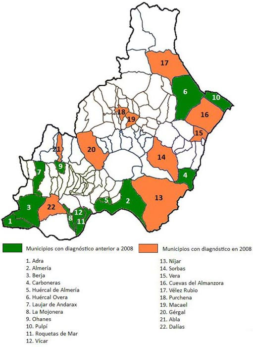 Provincia De Almeria Mapa.Municipios Desarrollo Sostenible De La Provincia De Almeria