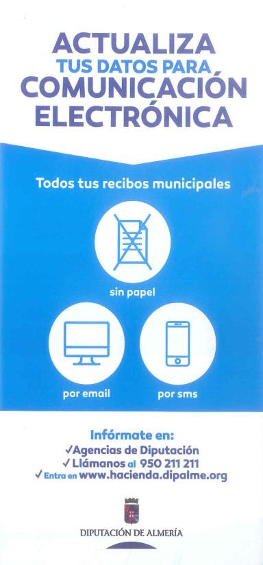 Anverso del folleto informativo sobre actualizacion de datos para comunicacion electrónica de recibos municipales